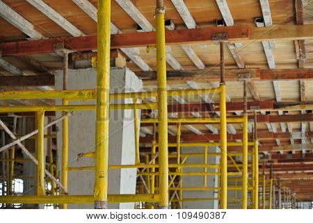Row of scaffolding support slab formwork