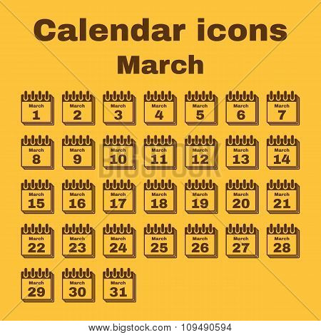 The calendar icon. March symbol. Flat