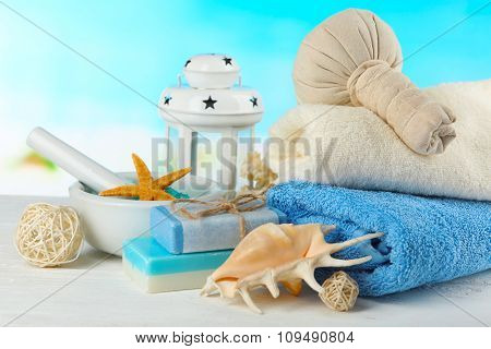 Spa treatments on bright background. Sea spa concept
