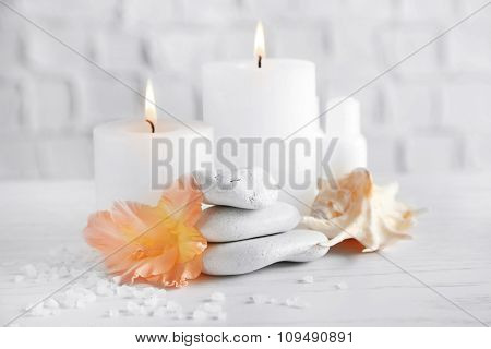 Beautiful spa composition on wooden table