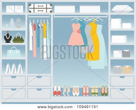 Flat Design Walk In Closet.