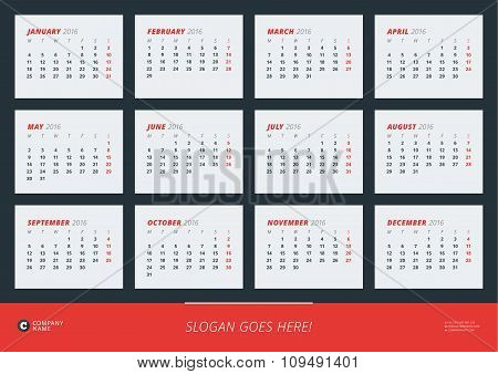 Wall Calendar Poster For 2016 Year. Vector Design Print Template. Week Starts Monday