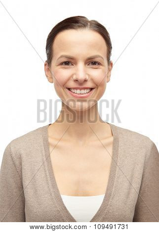 female, gender, portrait and people concept - smiling young woman in cardigan