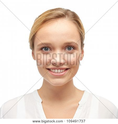 female, gender, portrait, fashion and people concept - smiling young woman or teenage girl in shirt