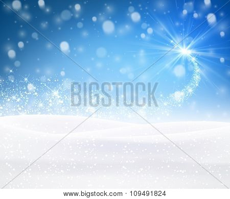 Blue winter background. Vector paper illustration.
