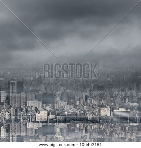 Urban background with copyspace on sky and nobody.