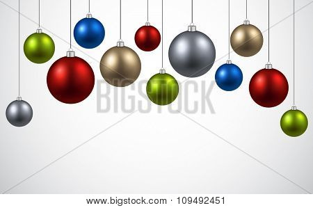 New Year background with colourful balls. Vector illustration.