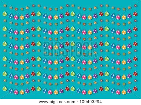 Christmas Multicolor Balls And Colorful Ornaments On Brigh Blue Background. Vector Illustration Desi