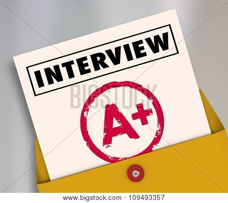Interview word on a report card answering questions to get new job and career