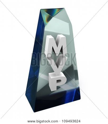 Most Valuable Player MVP word or acronym in a clear award or trophy recognizing the contributions of the best team member in a group, association, company or organization
