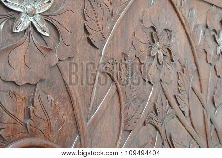 Malaysian Wood carving with floral motif