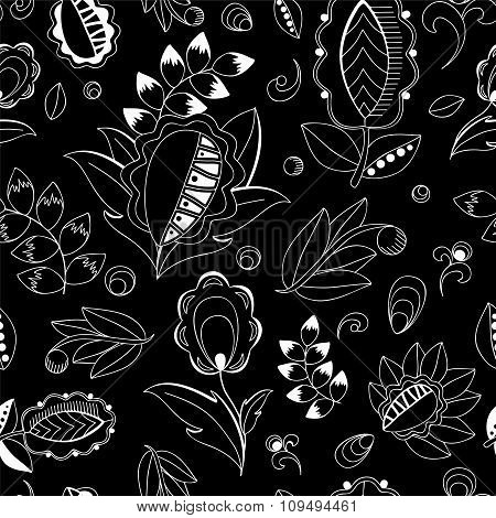 Stock Vector Seamless Oriental Floral  Doodle  Pattern.