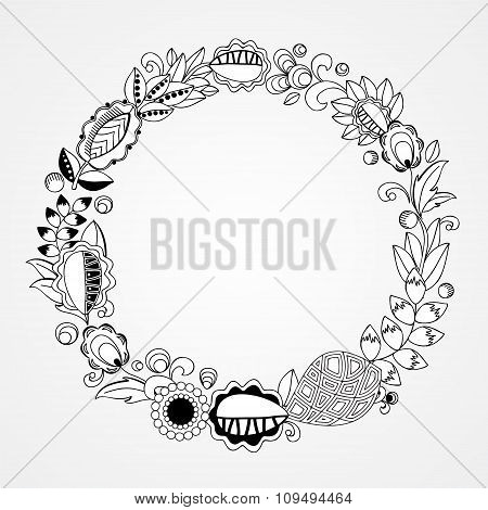 Stock Vector Oriental Floral  Doodle  Pattern. Circle Card Template