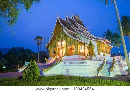 Temple In Luang Prabang Royal Palace Museum At Twilight Time, Laos