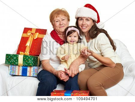 happy family with box gift, woman with child and elderly - holiday concept