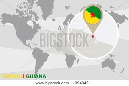 World Map With Magnified French Guiana