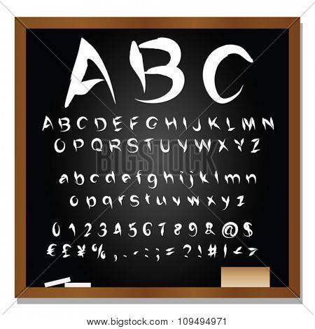 Vector concept or conceptual set or collection of black handwritten, sketch or scribble font isolated on blackboard black background