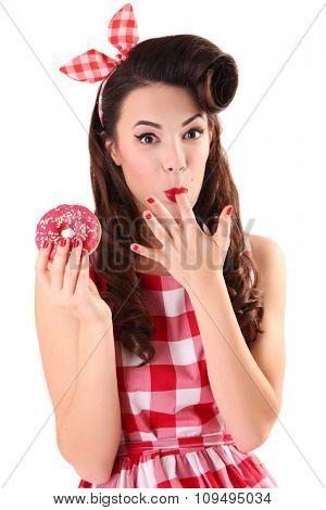 Pin up girl eating sweet donut