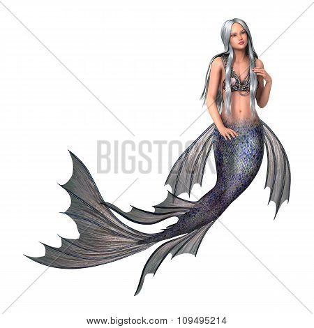 Fantasy Mermaid On White