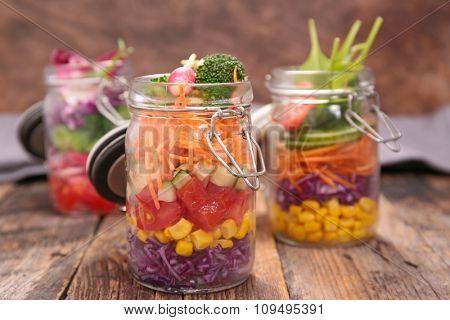 homemade rainbow salad in jar