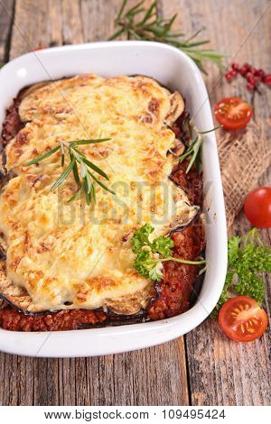 moussaka with aubergine,tomato sauce and beef