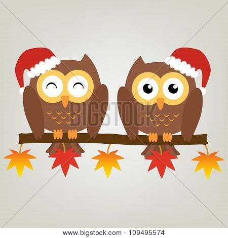 Two Owls On Maple Tree Wearing A Red Santa Claus Hat. Vector Illustration Design Christmas Holiday B
