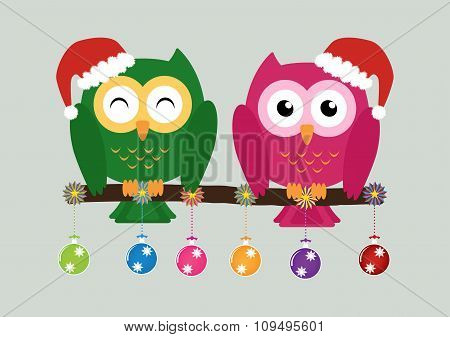 Two Owls On Tree Wearing A Red Santa Claus Hat With Christmas Multicolor Balls And Colorful Ornament