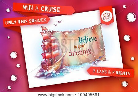 Banner for summer cruise. Sail ship in the ocean. Old paper. Vector illustration
