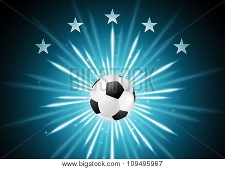 Abstract soccer background with ball and stars. Vector design