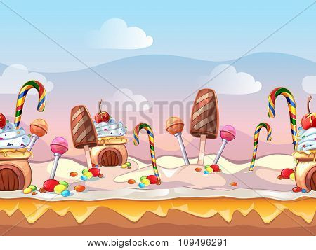 Cartoon fairy tale candy seamless vector background for computer game