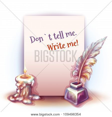 Vector illustration of paper with candle and feather