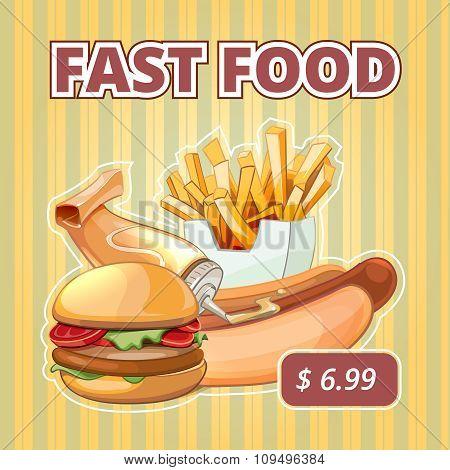 Vintage fast food vector menu poster