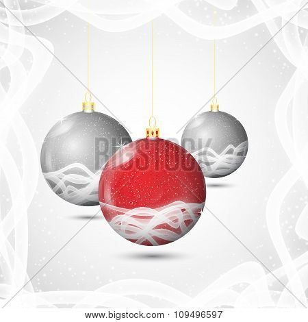 Christmas Background With Christmas Balls Set Red And Silver