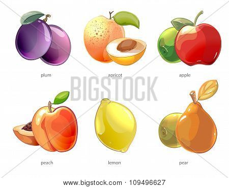 Cartoon fruits vector icons set