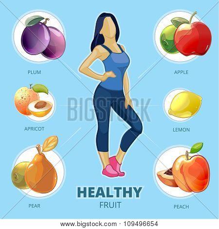 Healthy fruit vector infographic