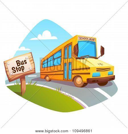Vector illustration of school bus on background