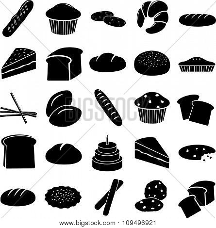 bread and other baked goods symbols set