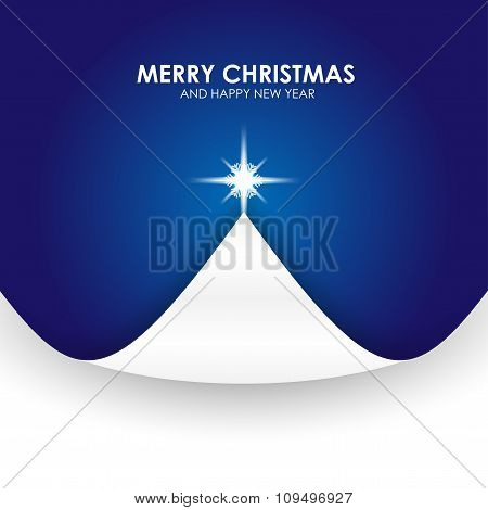 Christmas Background With Christmas Tree Paper Flap Blue