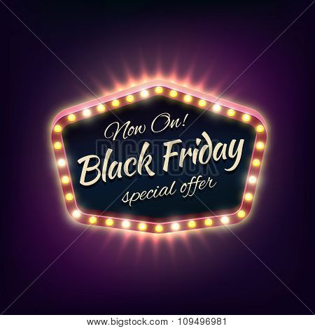 Black friday sale shining typographical background with light frame. Vector illustration