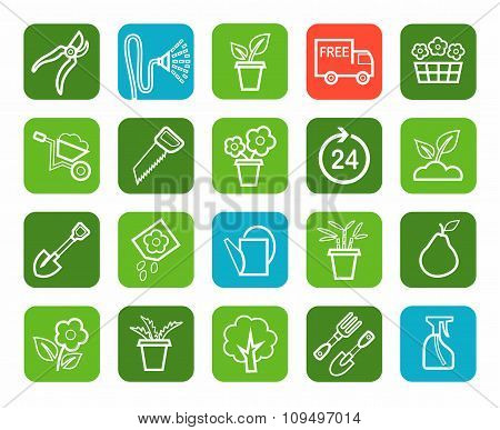 Gardening, Icons, Line, Green...