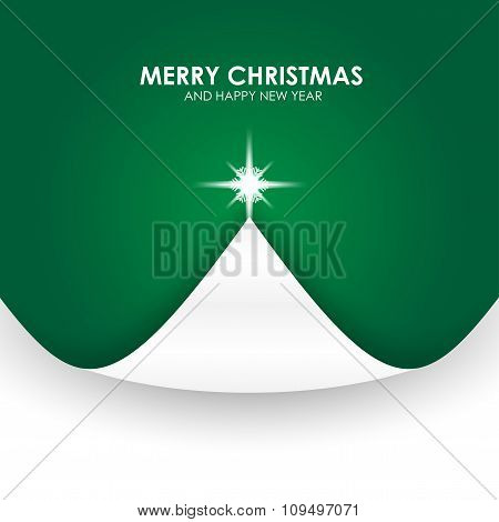 Christmas Background With Christmas Tree Paper Flap Green