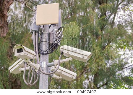 Security Cctv Camera And Urban Video At Public Park