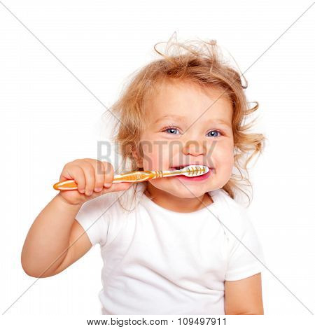 Cute Baby Toddler Brushing Teeth.