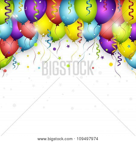 Celebration vector background with colorful confetti, balloons and ribbons.