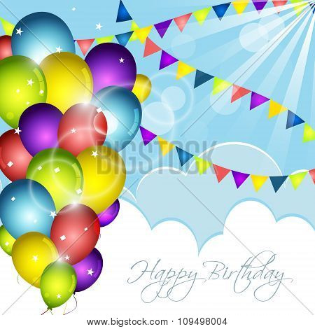 Happy Birthday greeting card with colorful balloons confetti and flags.