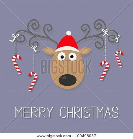 Cute Cartoon Deer With Curly Horns, Red Hat And Hanging Stick Candy Cane. Merry Christmas Violet Bac