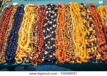Colorful Amber Necklaces Close Up
