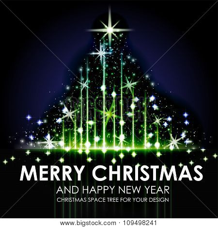 Green Blue Space Shining Christmas Tree Design