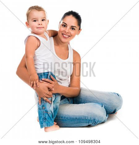 mother and little son kissing isolated on white background