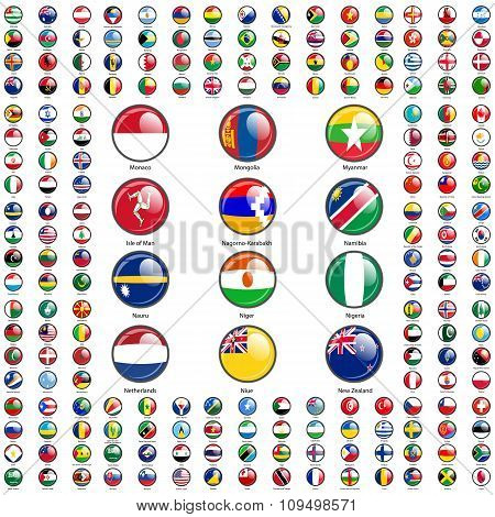 Set Flags of world sovereign states. Vector illustration